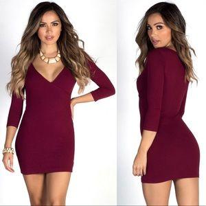 F21 Burgundy 3/4 Sleeve V Neck Mini Dress size S